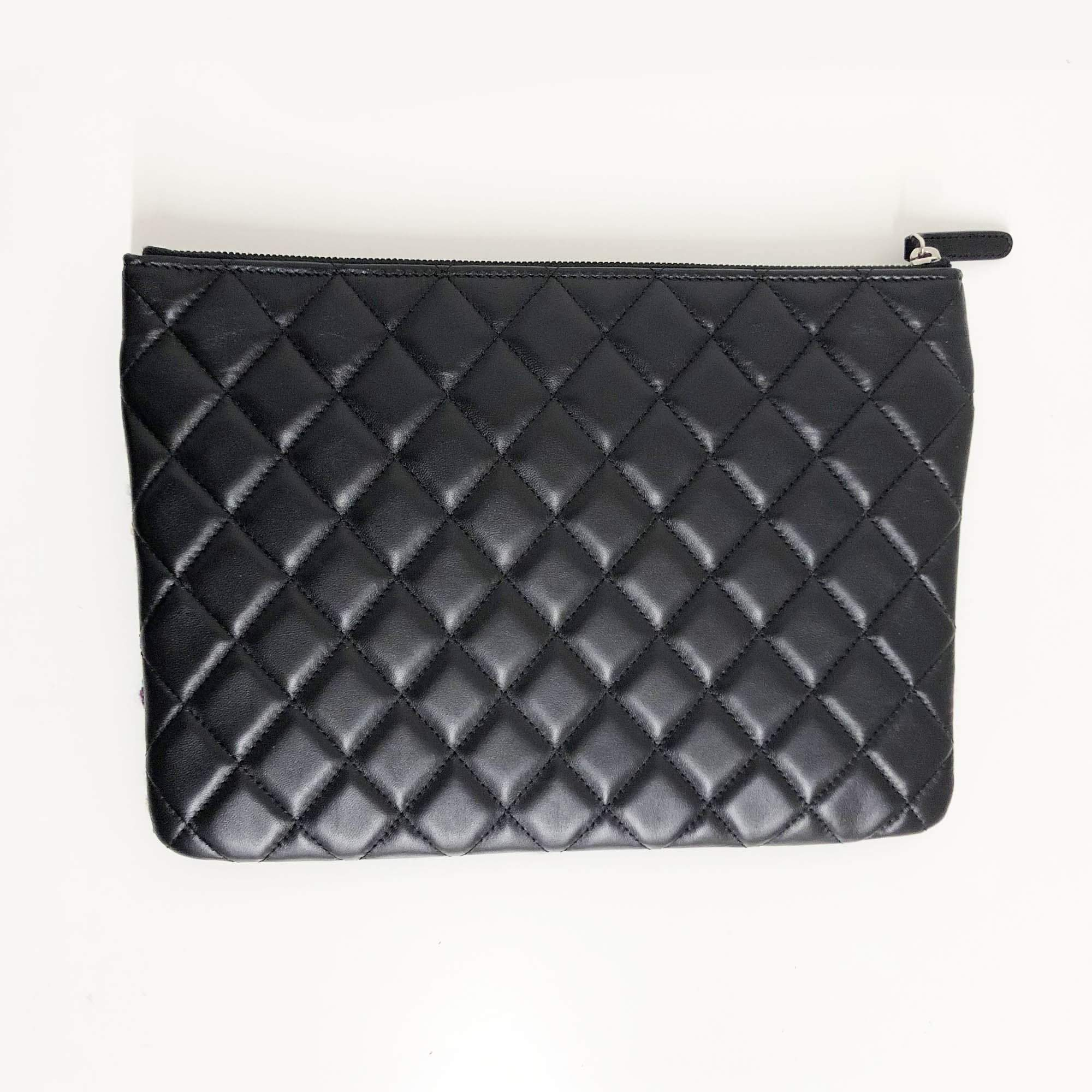 Chanel Black and Green Tweed Clutch