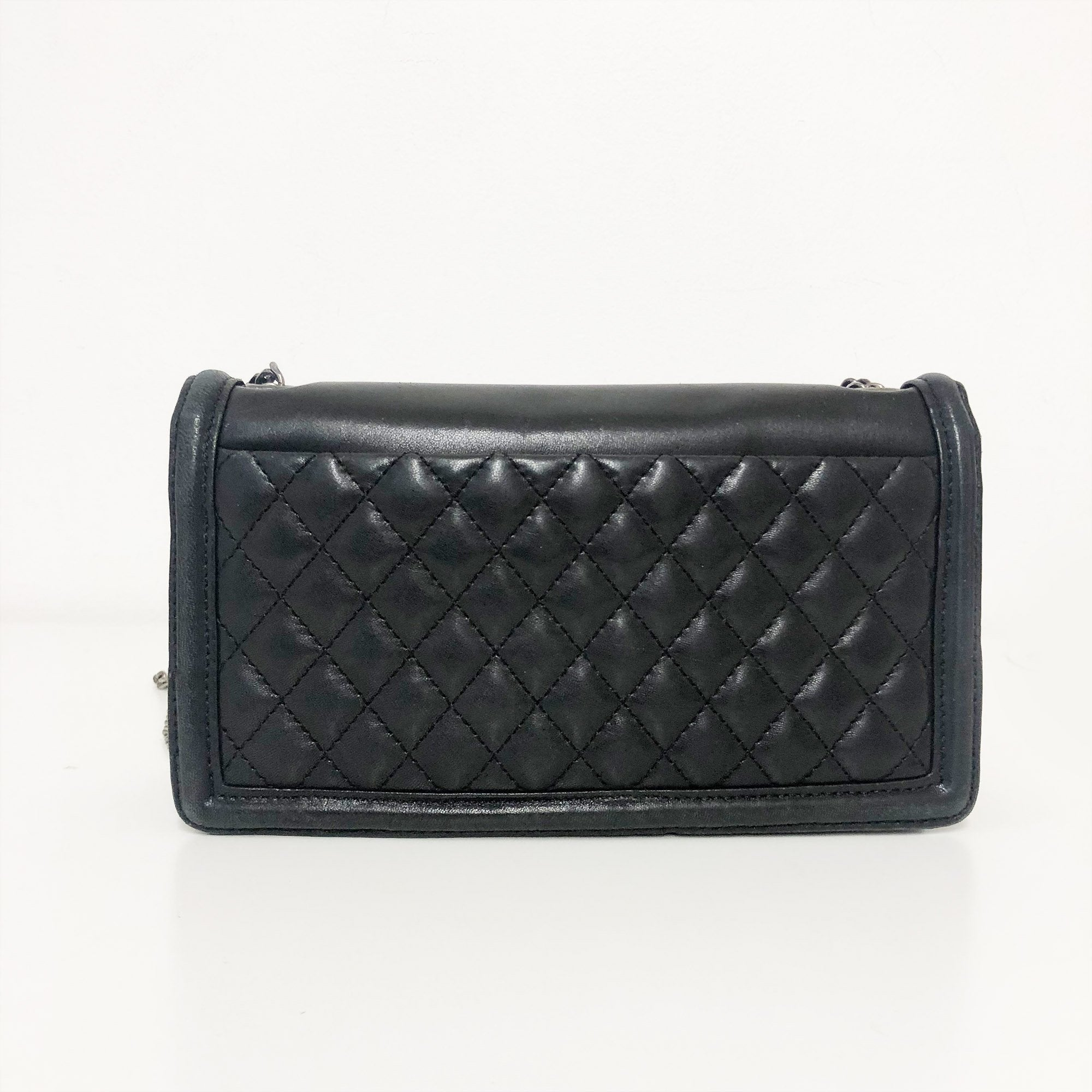 Chanel Black and White Striped Brick Flap Bag