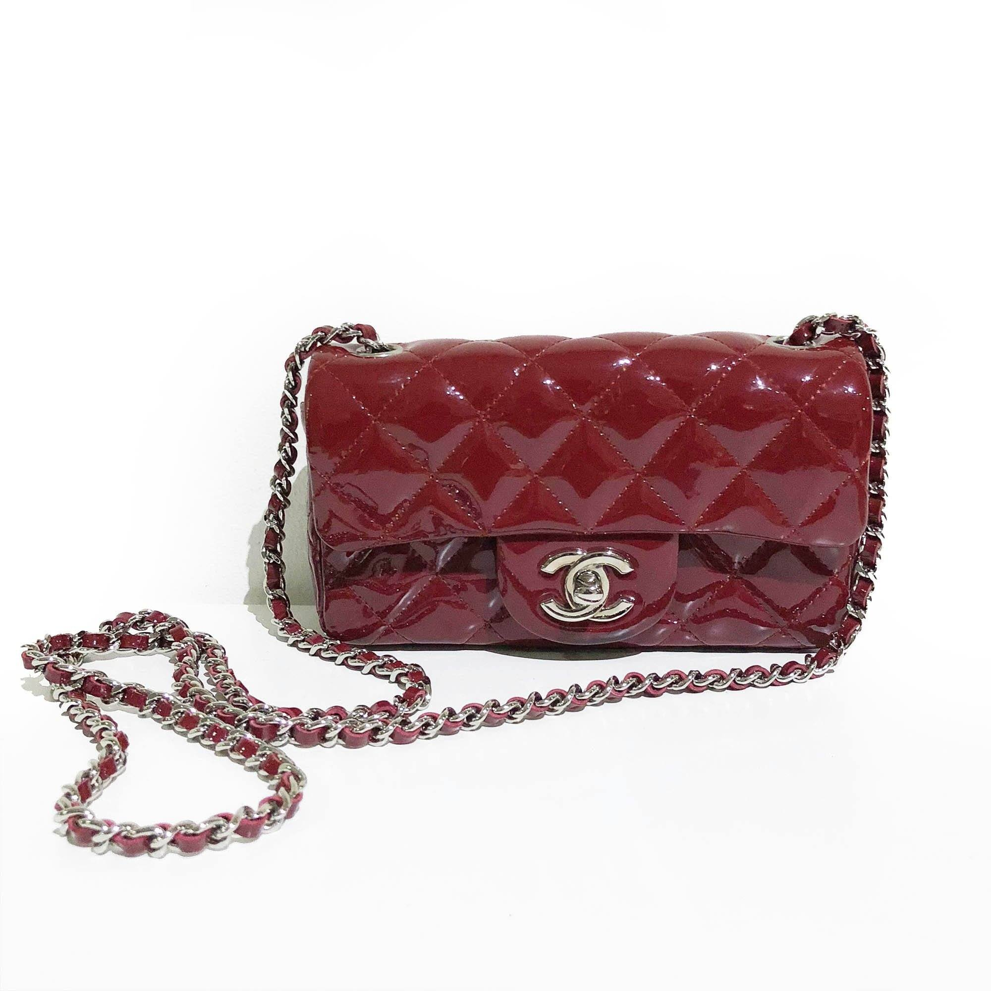 Chanel Burgundy Extra Mini Rectangle Flap Bag