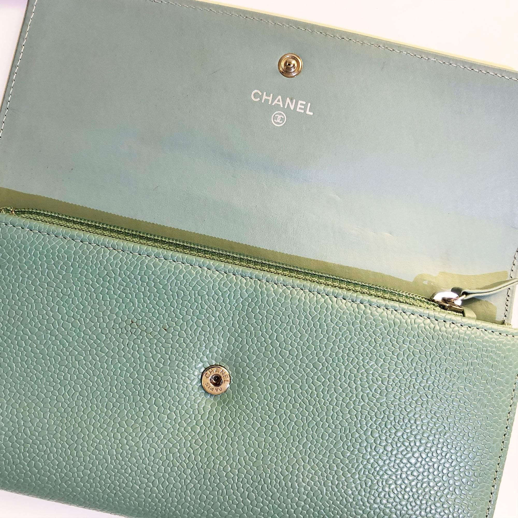 Chanel CC Caviar Long Flap Mint Wallet