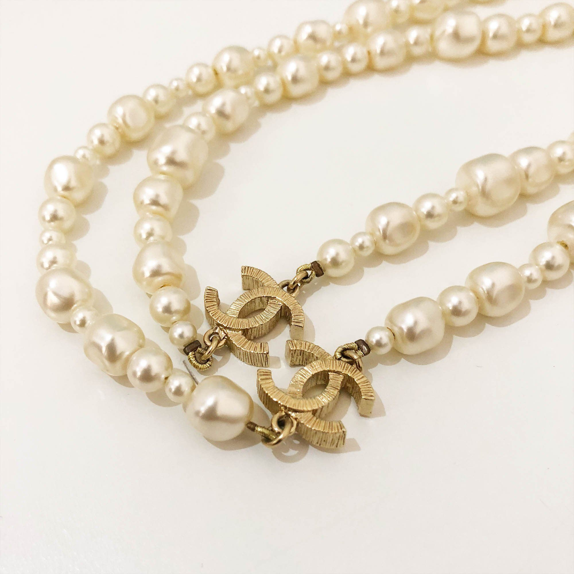 Chanel CC Gold Toned Faux Pearl Necklace