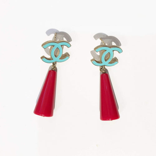 Chanel CC Red and Mint Green Cone Drop Earrings (no earring back)