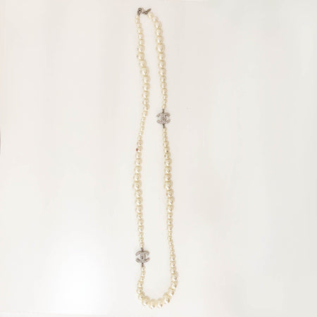Chanel CC Silver Toned Faux Pearl Necklace