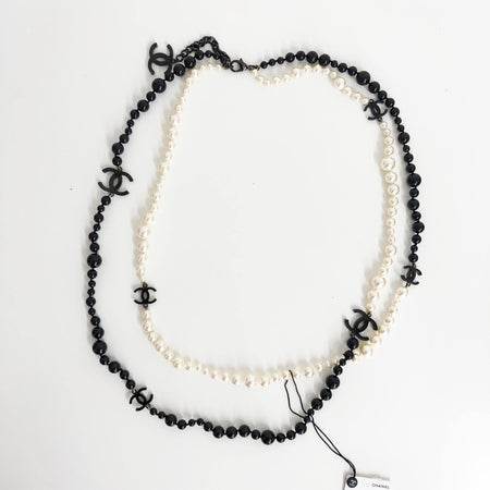 Chanel CC White & Black Faux Pearl Necklace