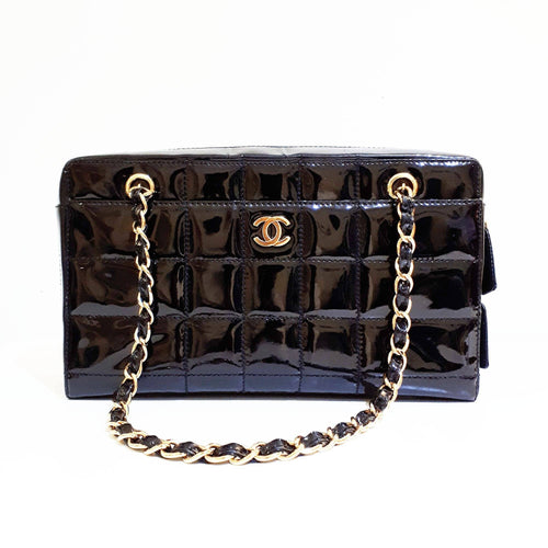Chanel Black Chocolate Bar Quilted Patent Leather Camera Bag