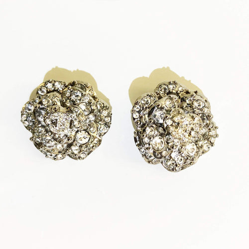 Chanel Camilia Flower Silver CC Crystal Embellished Earrings