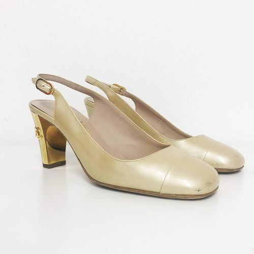 Chanel  Beige CC Patent Leather Sling Back Heel Sandal
