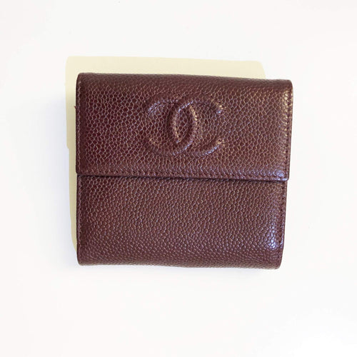 Chanel Caviar Burgundy Compact Flap Wallet