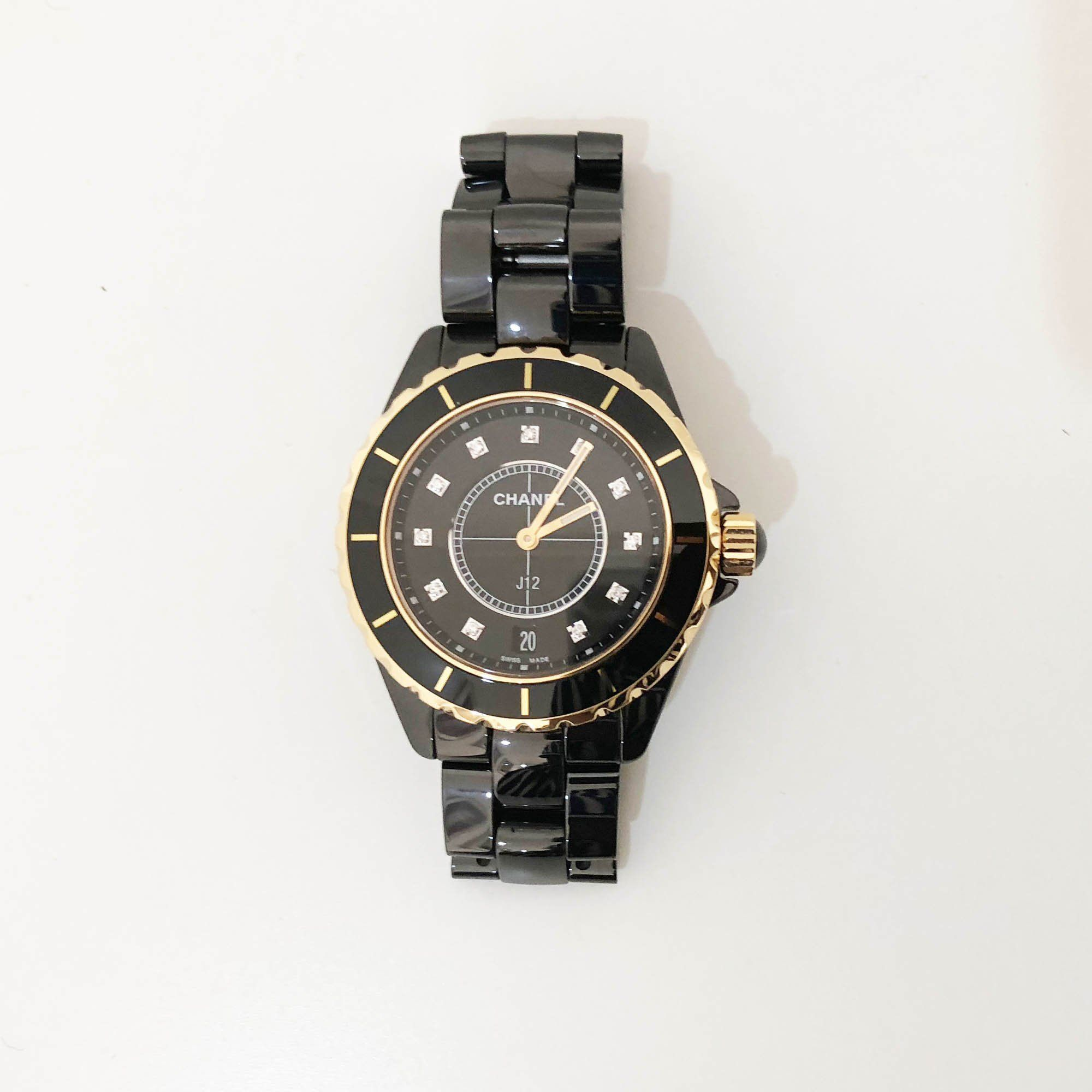 Chanel Ceramic 12 Diamond Marker 38mm J12 Automatic Watch Black