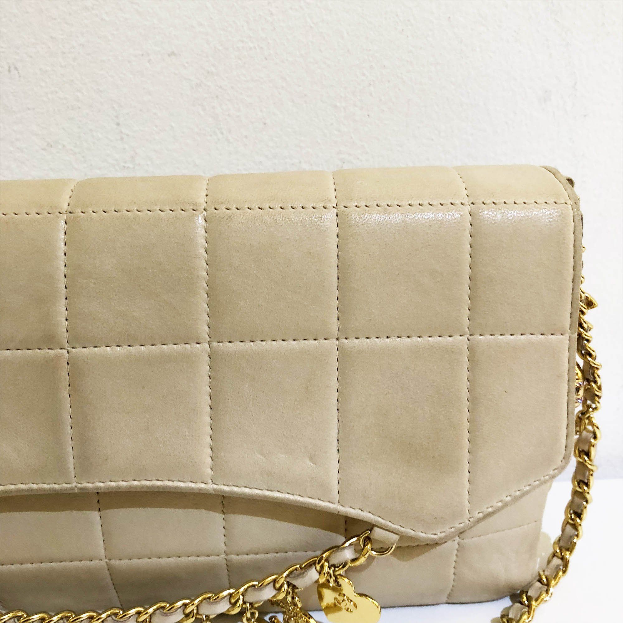 Chanel Chocolate Bar Bag with Crystal Charms and Chain Bag