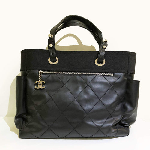 Chanel Coated Canvas Large Paris Biarritz Tote Black