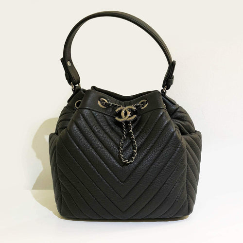 Chanel Deerskin Chevron Small Chain Bucket Bag Black