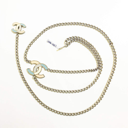 Chanel Enamel CC Chain Belt Silver