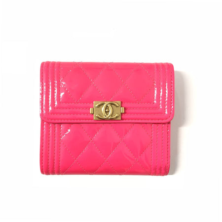 Chanel Fuchsia Patent Leather Quilted Boy Wallet