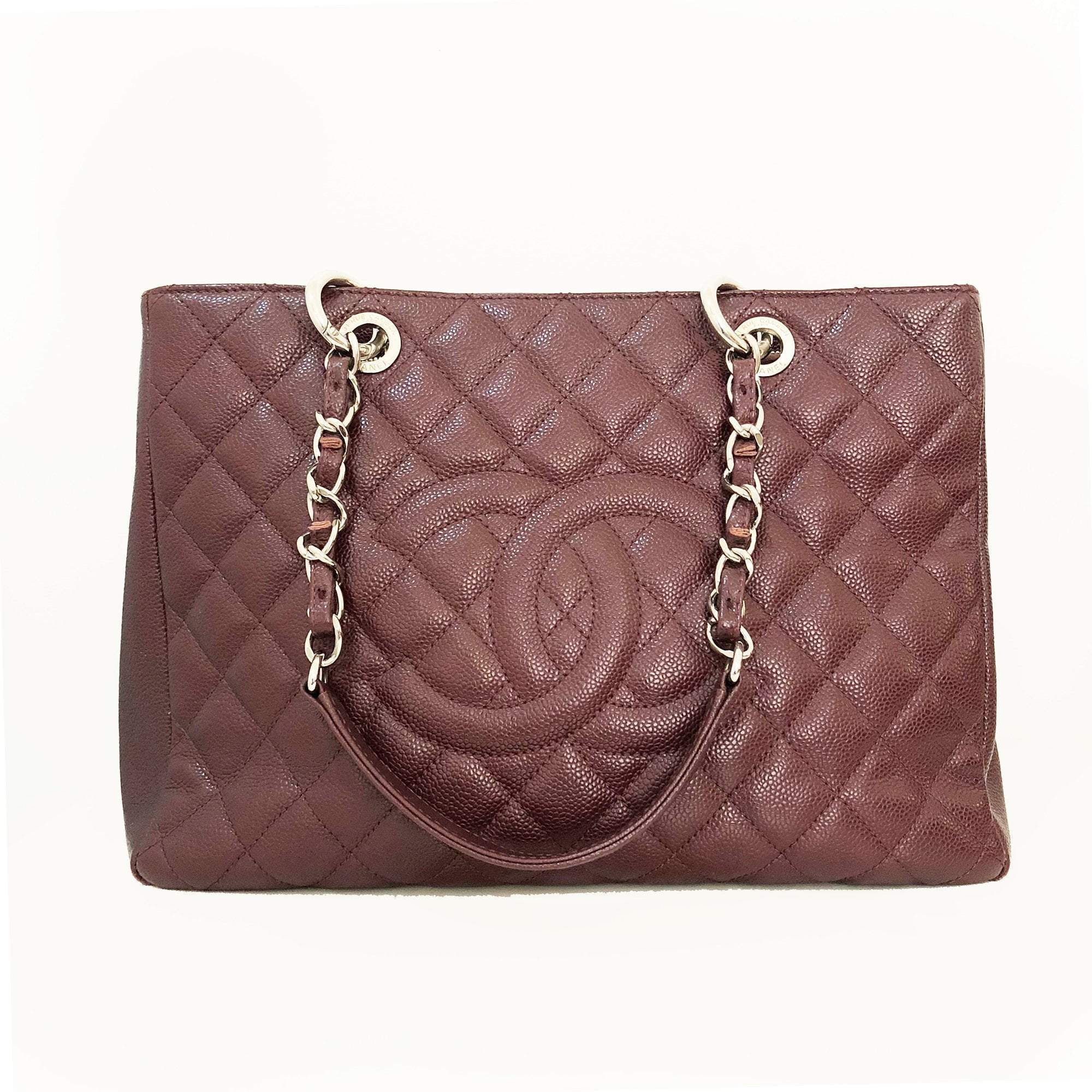 Chanel Burgundy Caviar Classic Grand Shopper Tote GST Bag