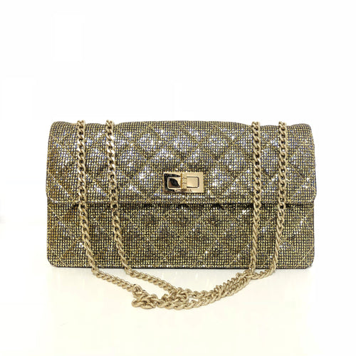 Chanel Gold Glitter Quilted Small Reissue Flap Bag