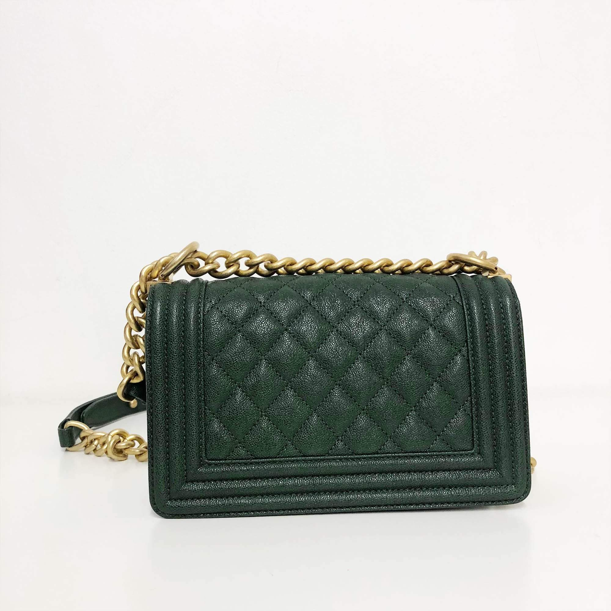 Chanel Green Quilted Caviar GHW Small Le Boy Bag