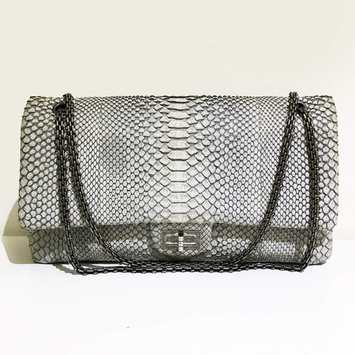 Chanel Grey Matte Python Reissue 2.55 Flap Bag