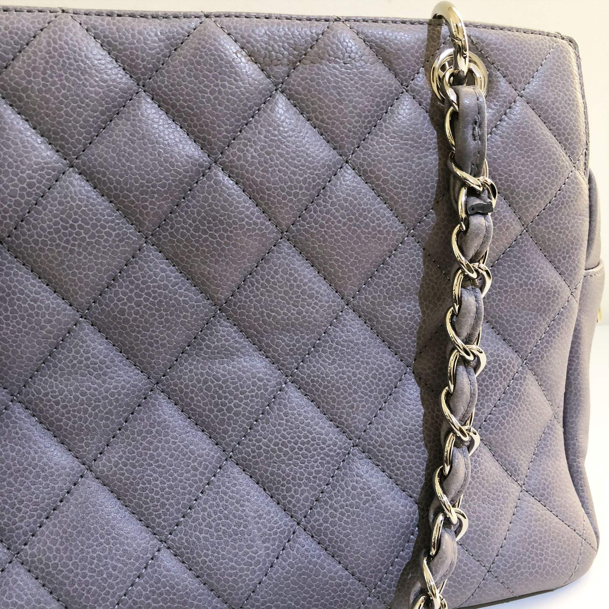 Chanel Grey Quilted Caviar Petite Timeless Tote