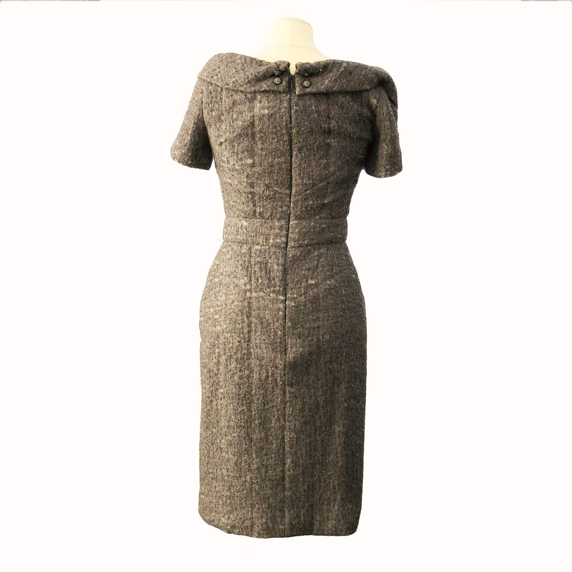 Chanel Grey Tweed Midi Dress