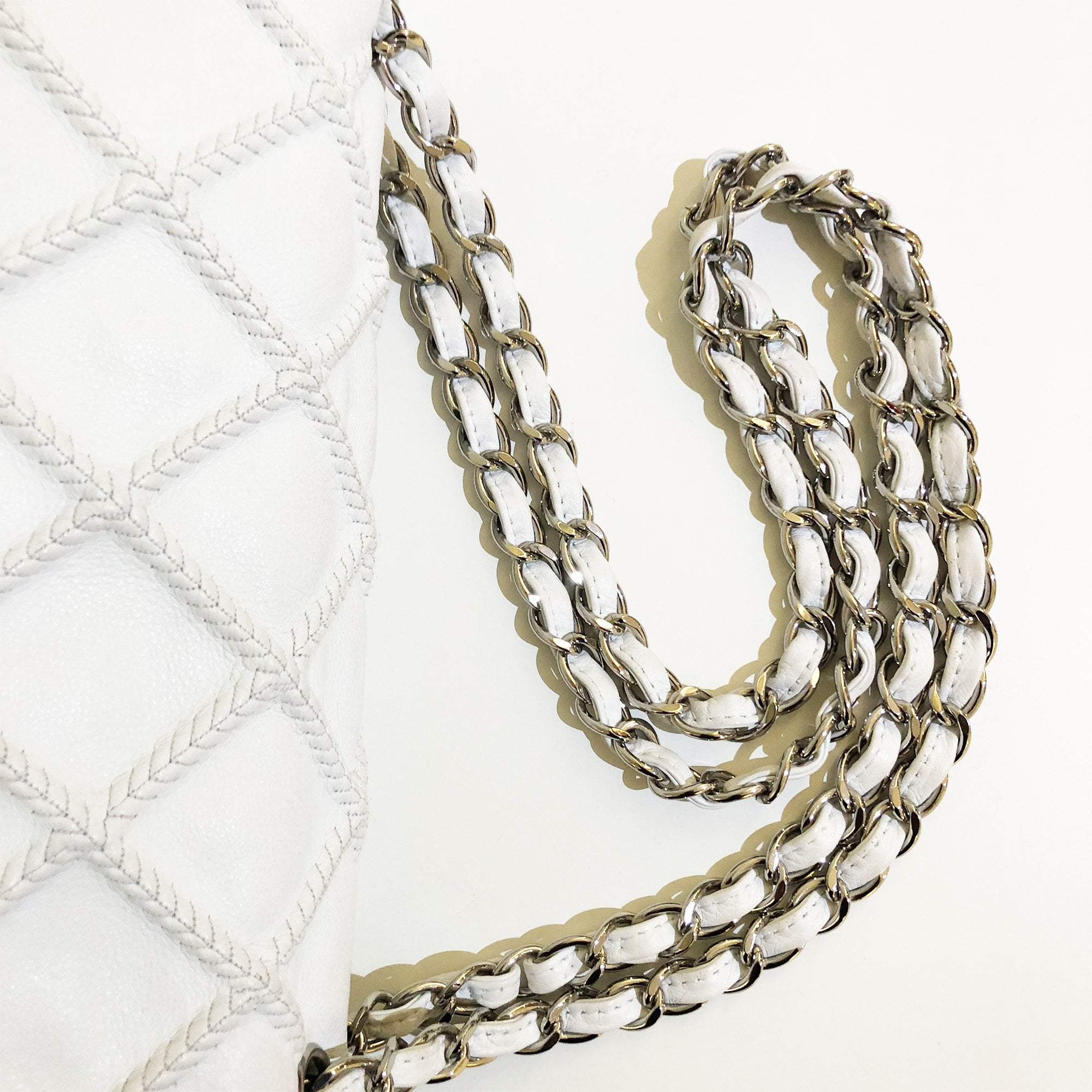 Chanel Ivory Stitched Quilted Leather Flap Bag
