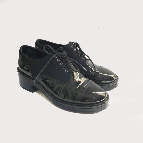 Chanel Lace Up Patent Leather Round Cap Toe Oxfords