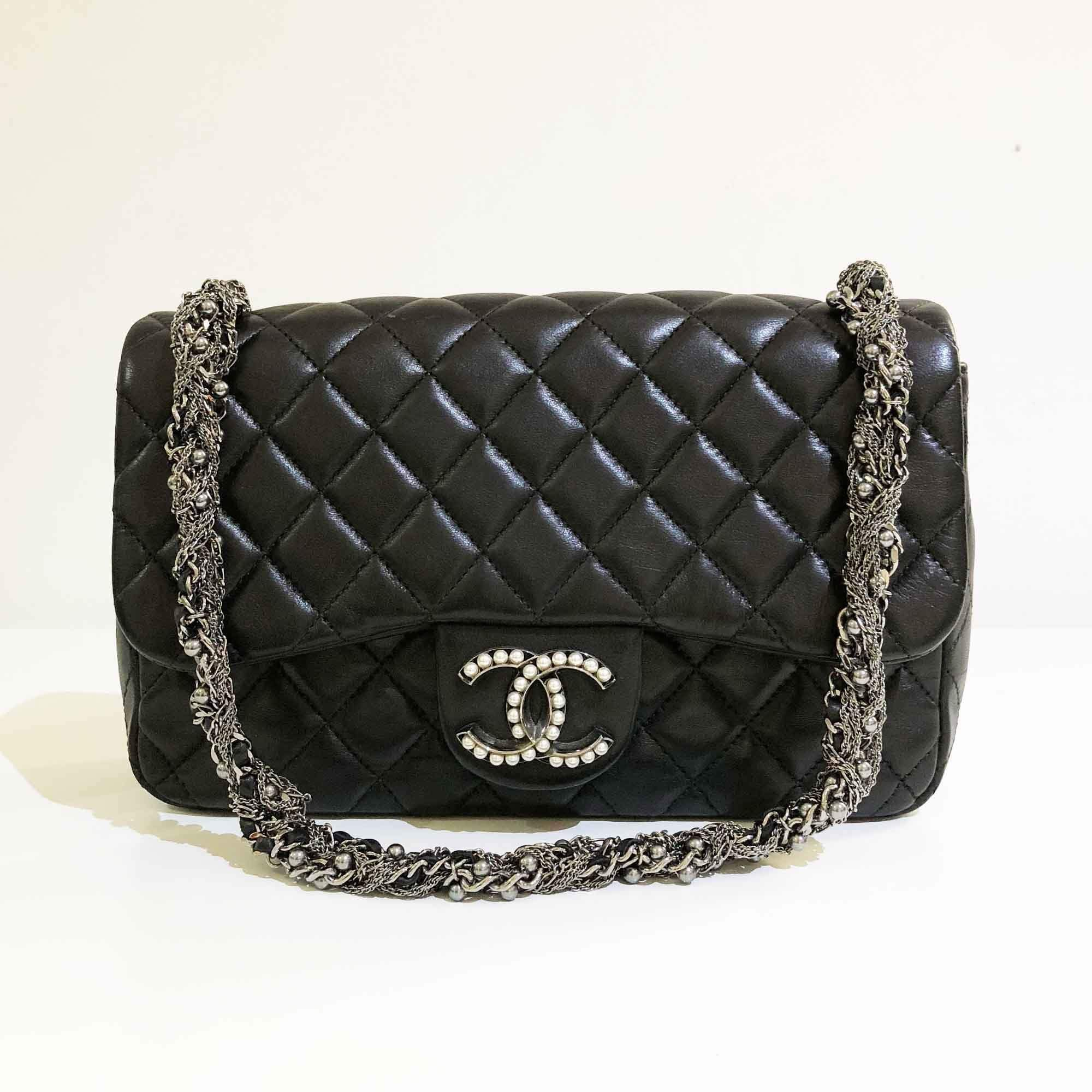 Chanel Lambskin Medium Westminster Pearl Flap Black