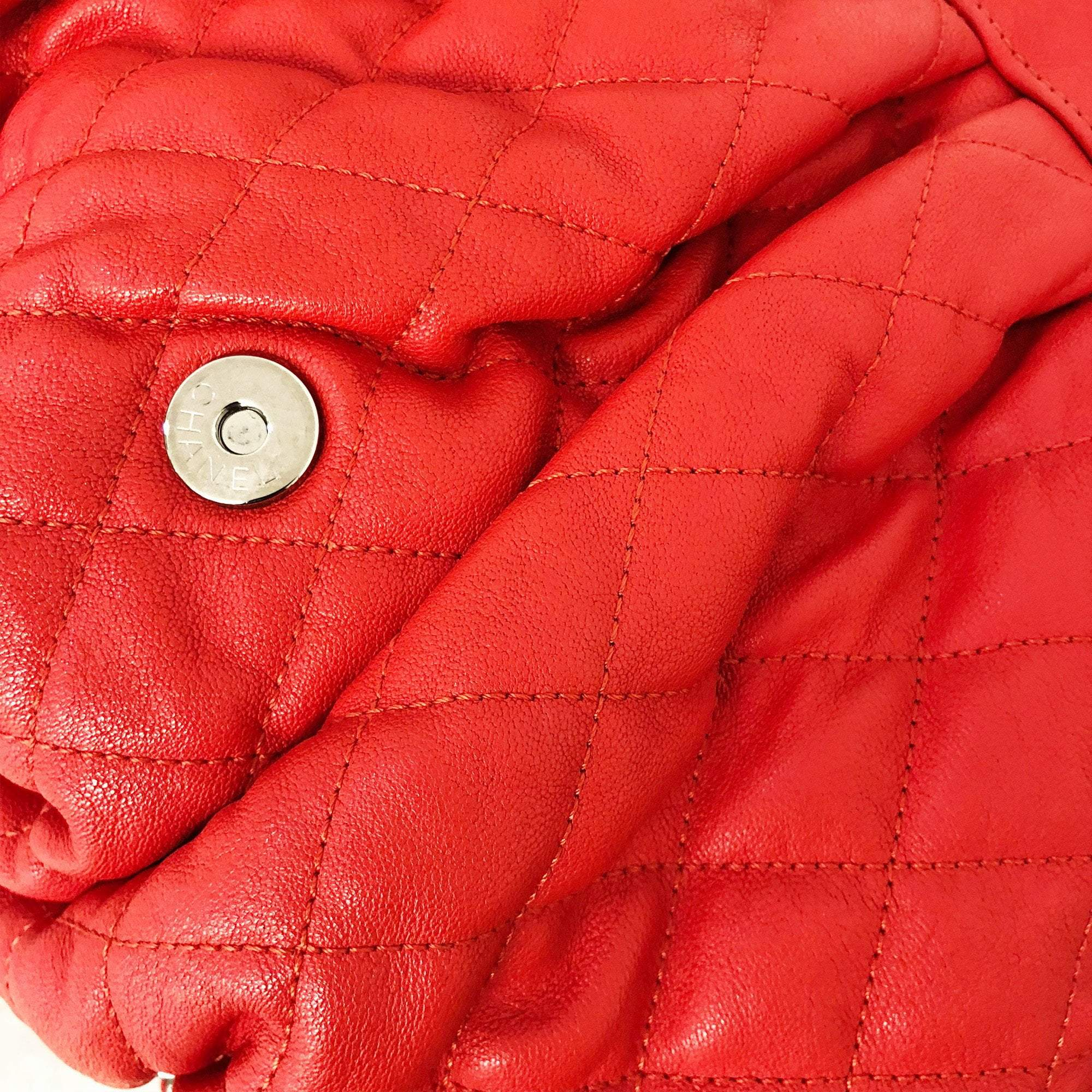 Chanel Large Red Quilted Chain Around Bag