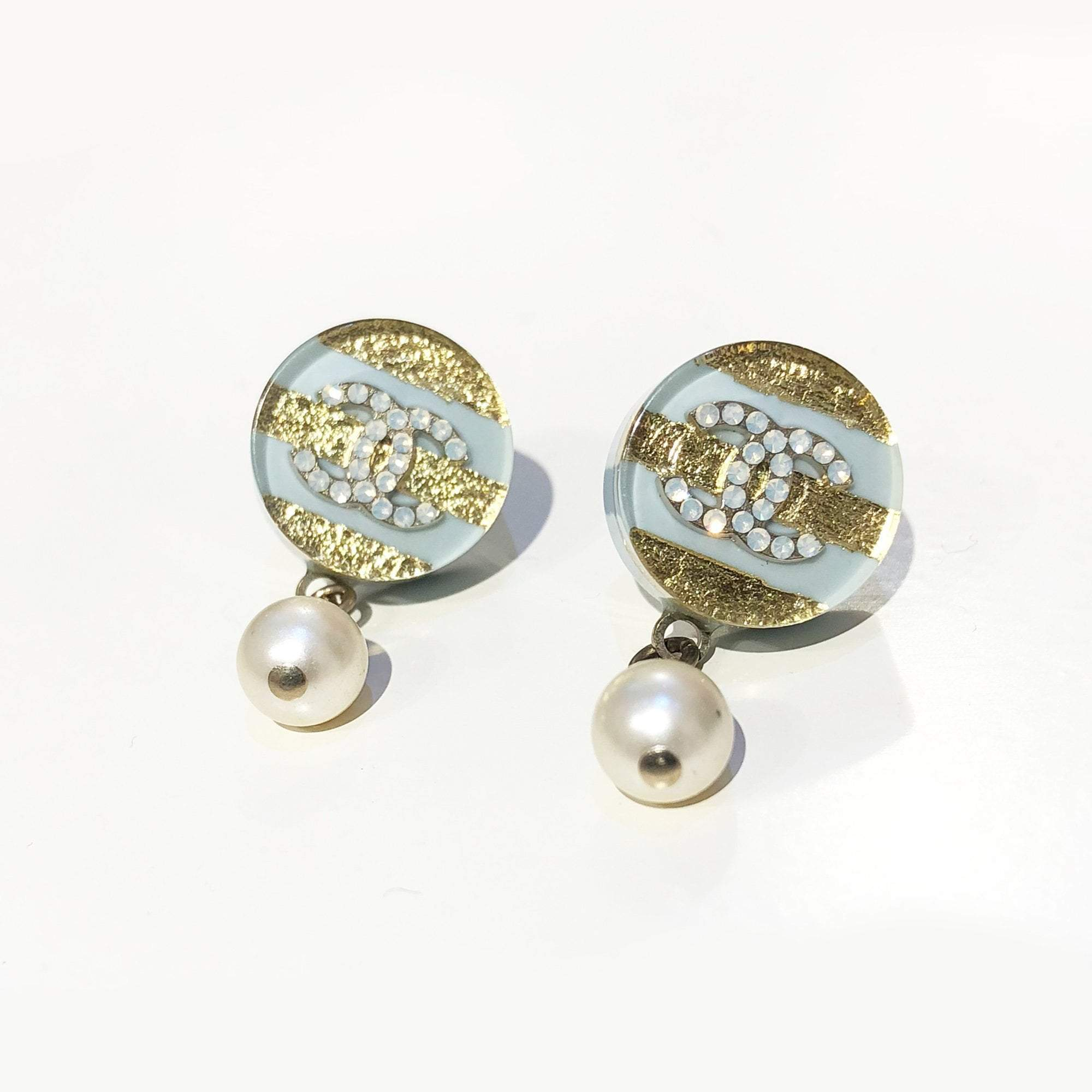 Chanel Light Blue & Gold Round Pearl Drop Earrings (no earring back)
