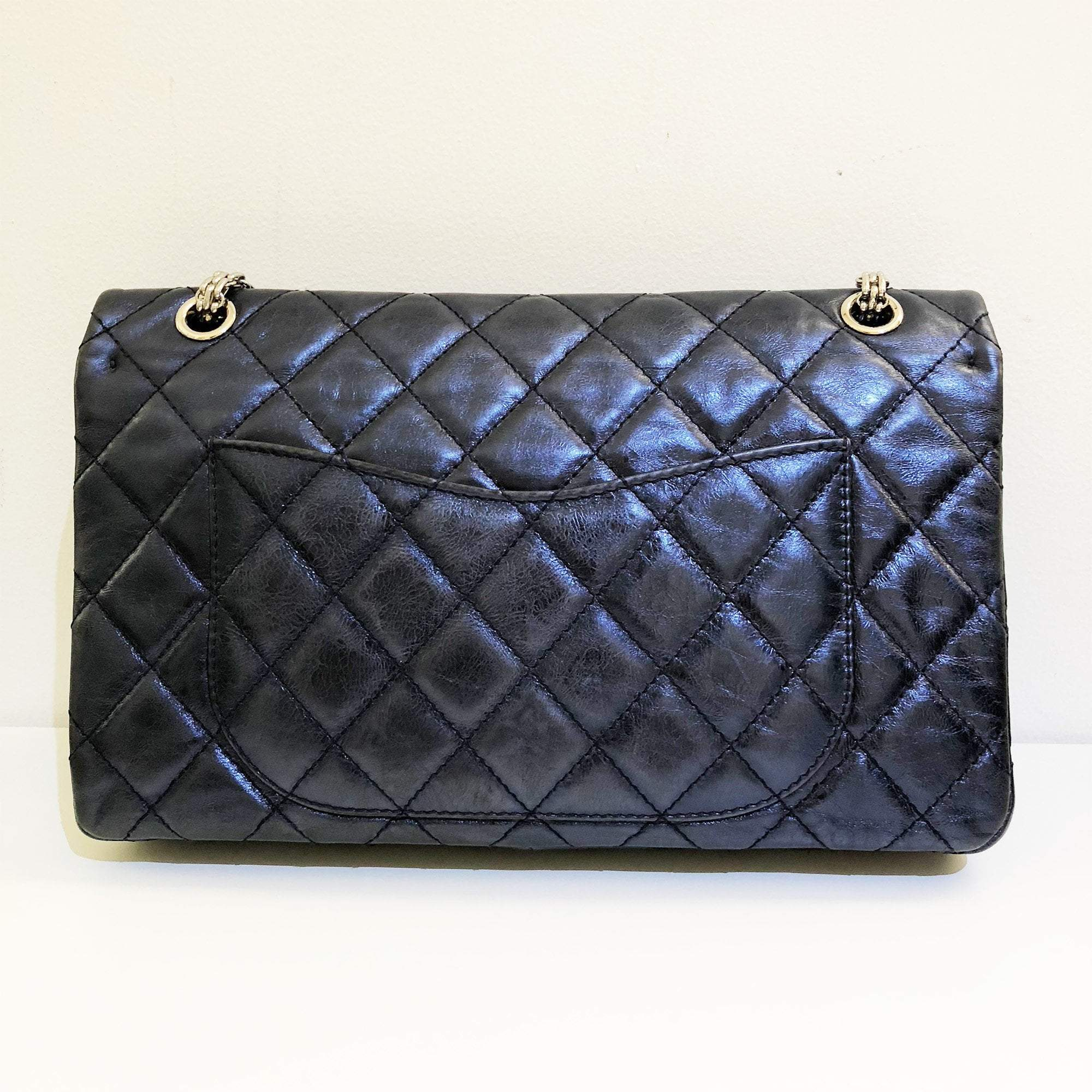 Chanel Metallic Blue Jumbo 2.55 Reissue Double Flap Bag