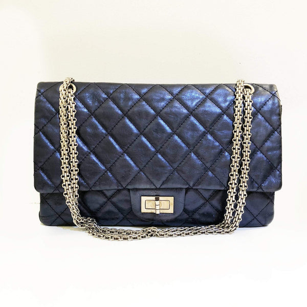 e5b98b67edd5 Chanel Metallic Blue Jumbo 2.55 Reissue Double Flap Bag – Garderobe