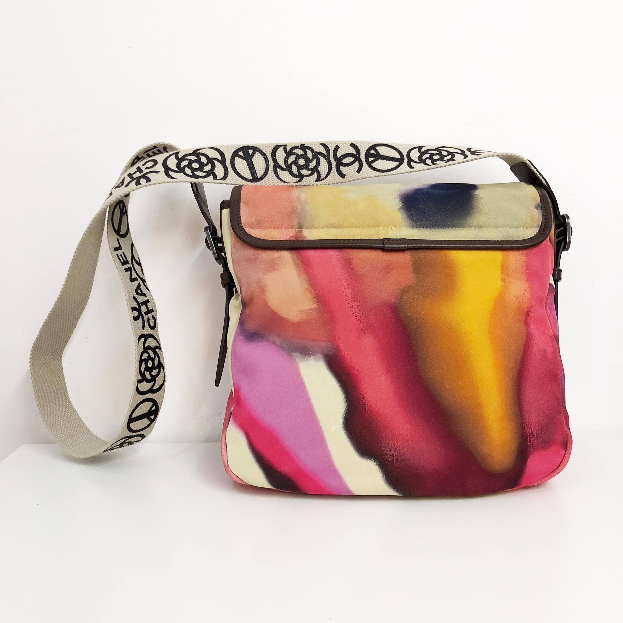 Chanel Multicolor Nubuck Leather CC Flower Power Messenger Bag