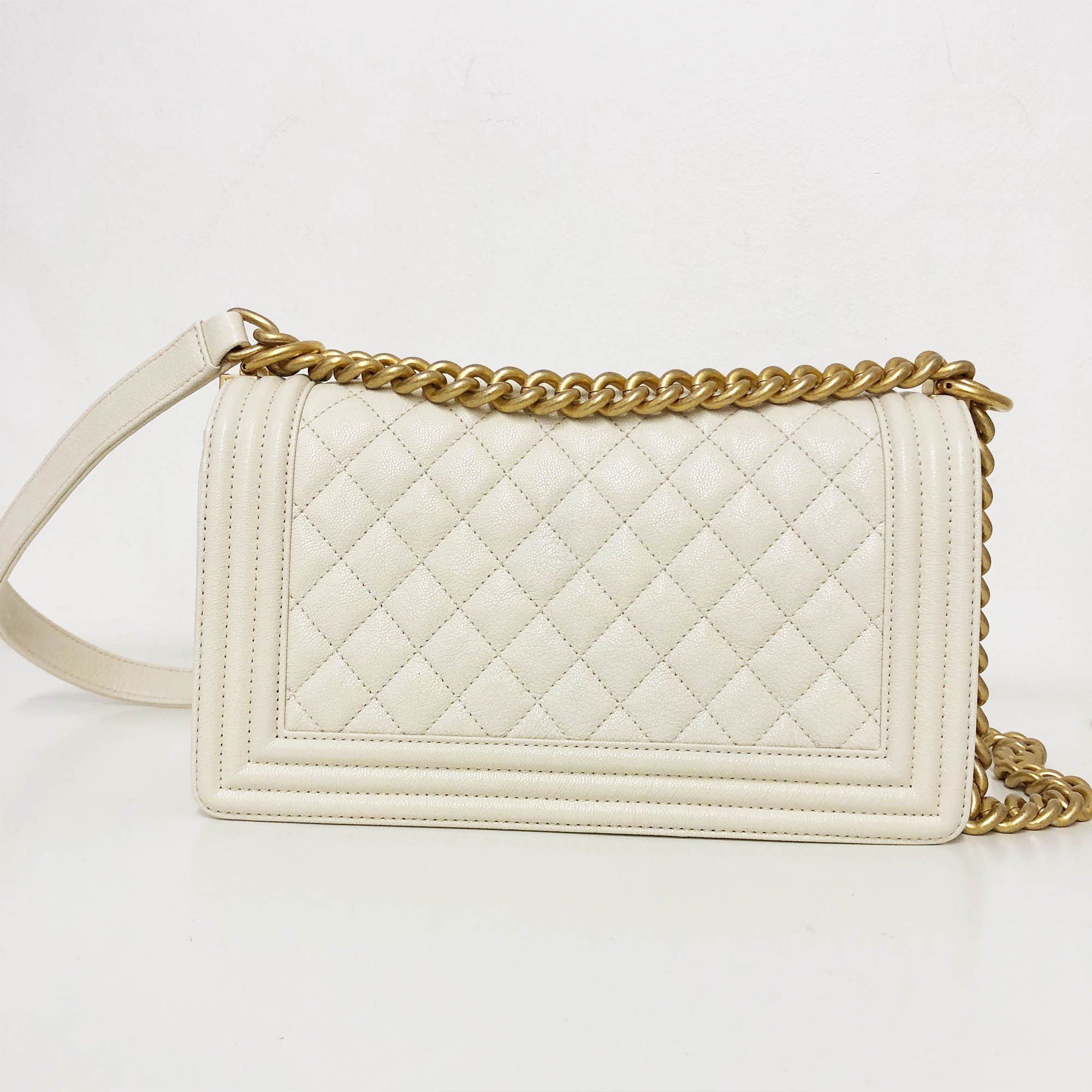 Chanel Off-White Quilted Caviar GHW Medium Le Boy Bag