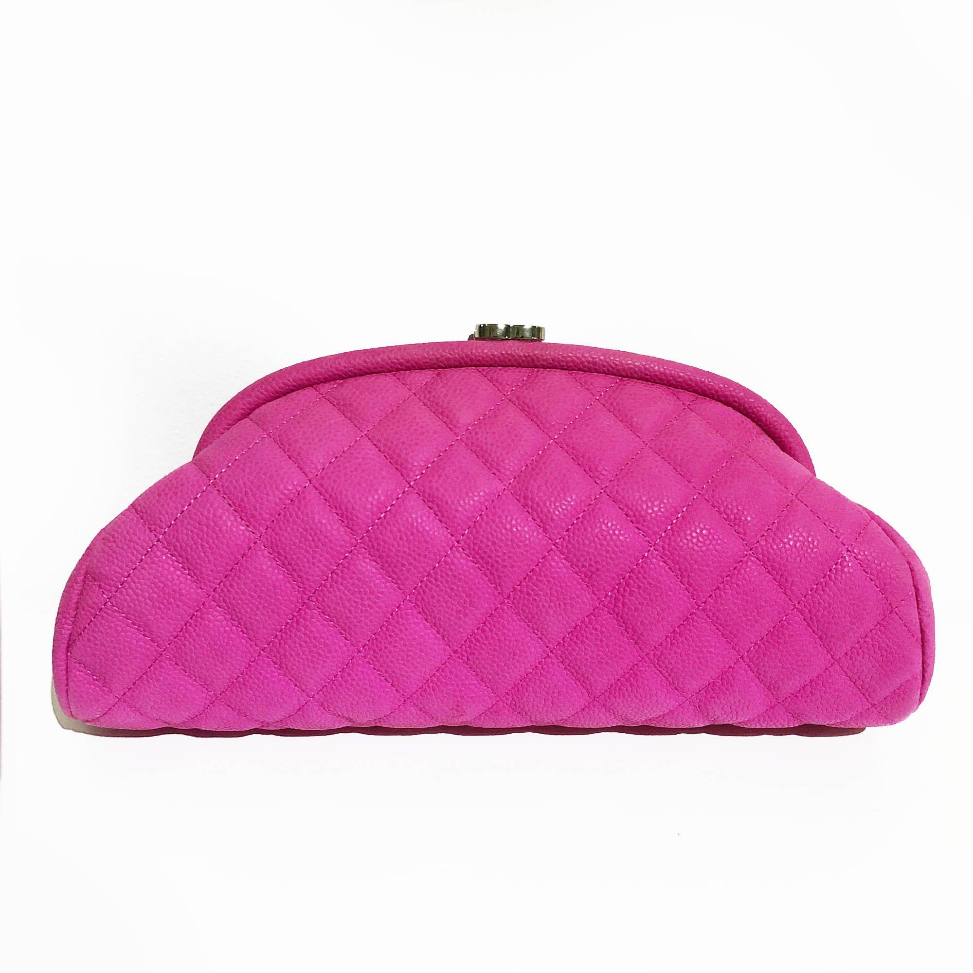 Chanel Pink Caviar Matte Leather Timeless Clutch Bag