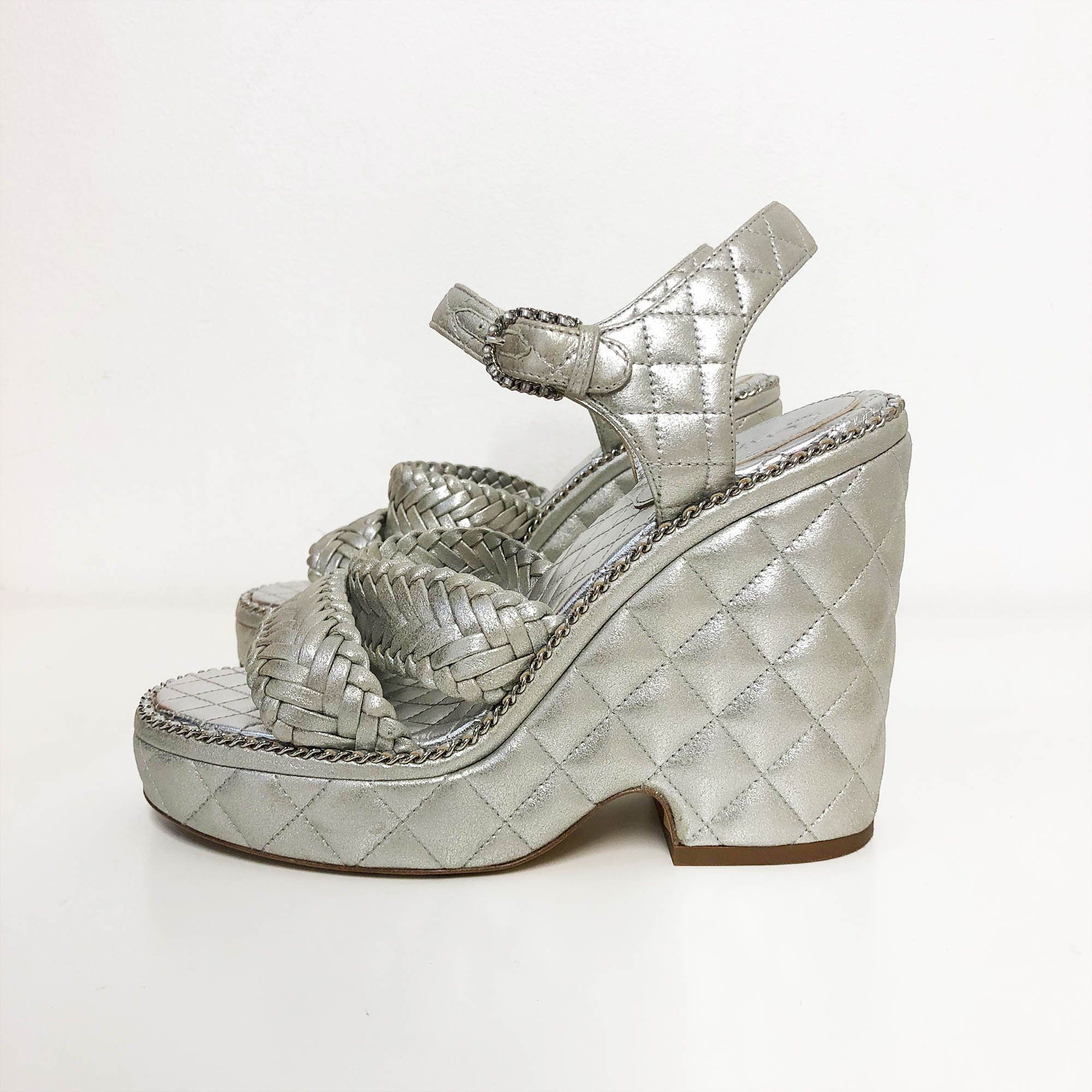 Chanel  Quilted Braided Chain Logo Platforms Sandal