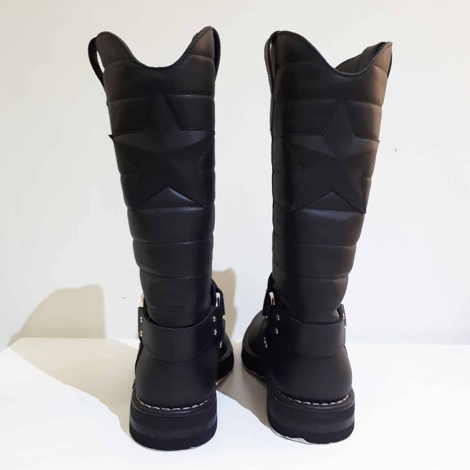 Chanel Quilted Leather Star Harness Motorcycle Boots