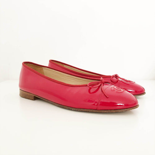 Chanel Red Patent Leather Ballerina