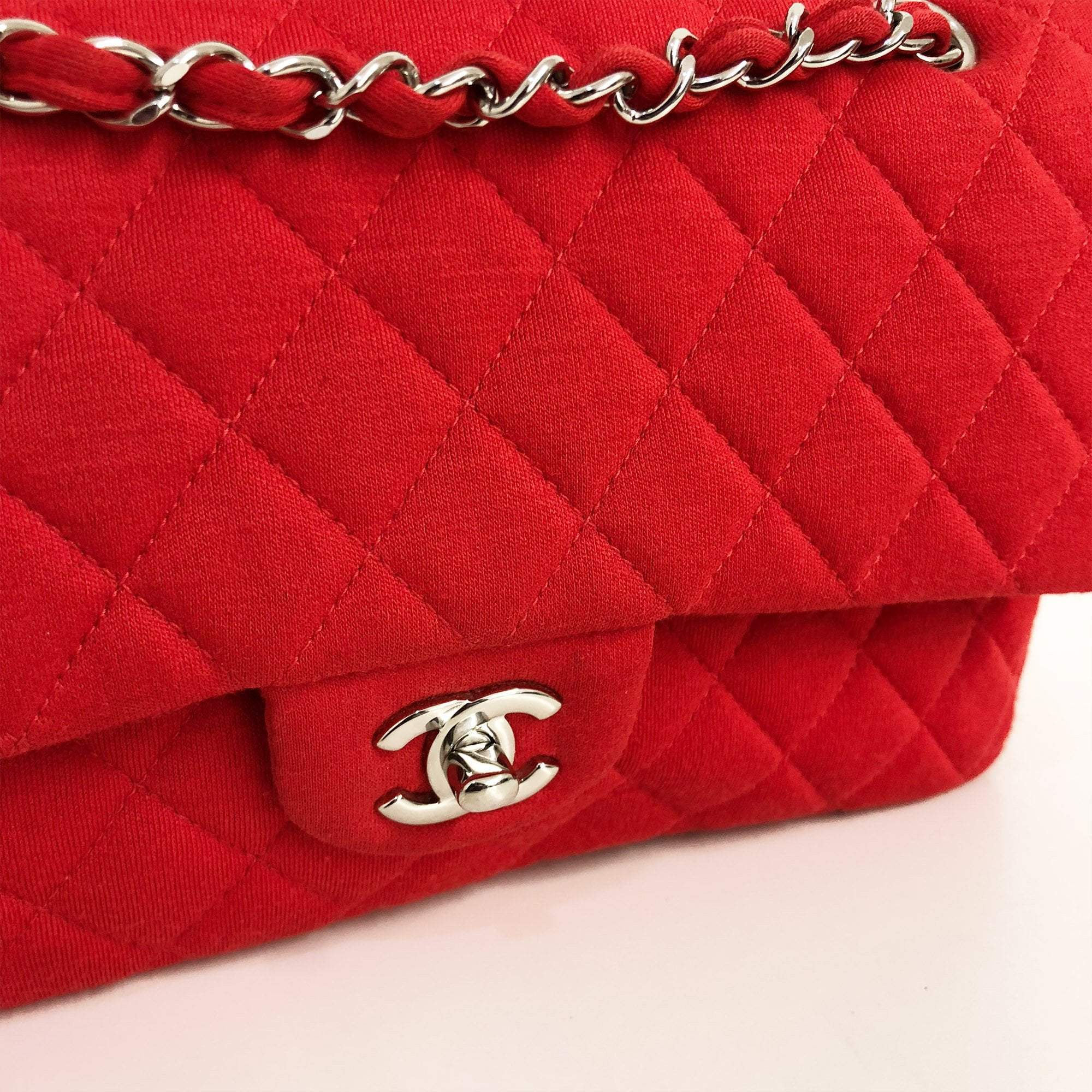 b0d2fe64d08c Chanel Red Quilted Jersey Medium Double Flap Bag – Garderobe