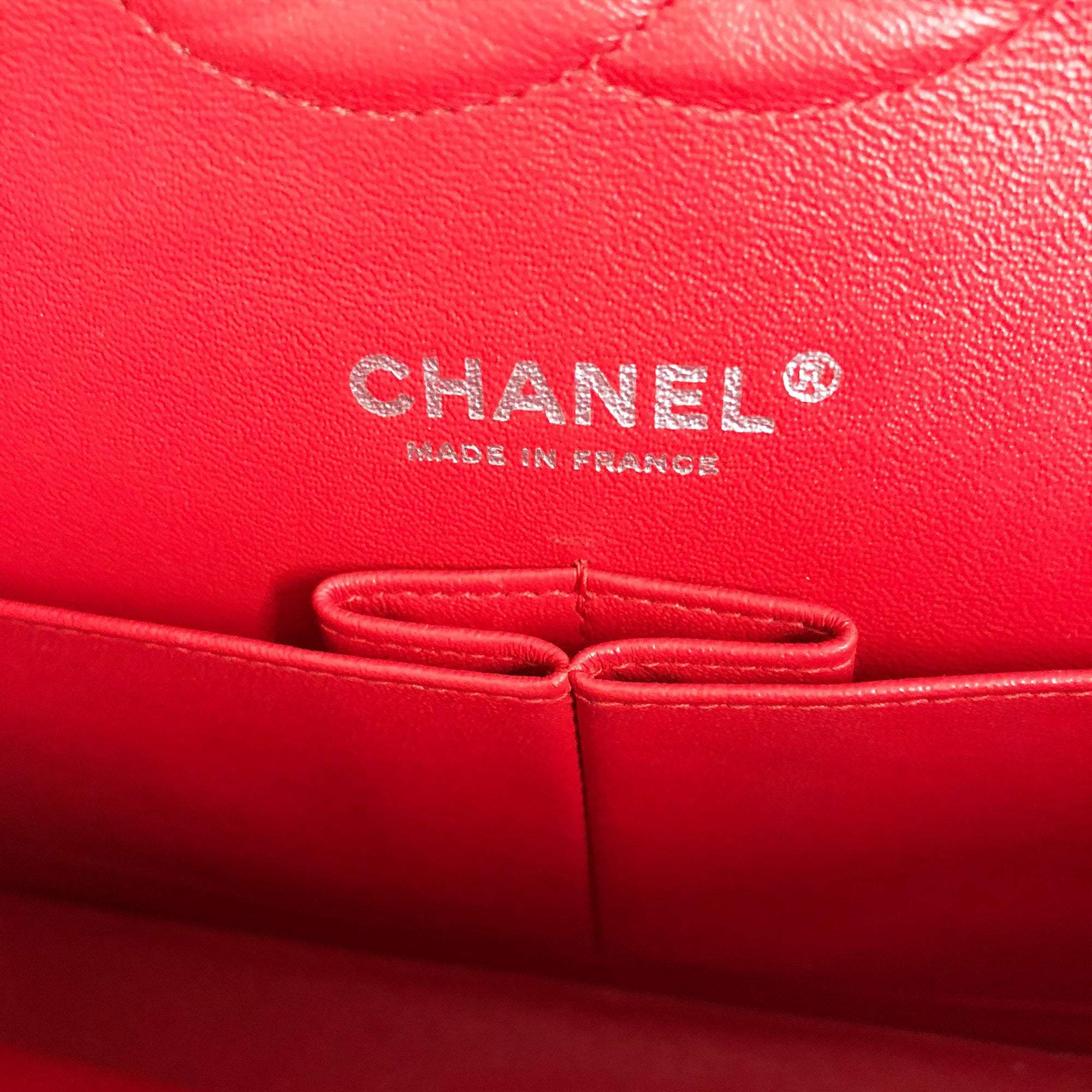 Chanel Red Quilted Jersey Medium Double Flap Bag