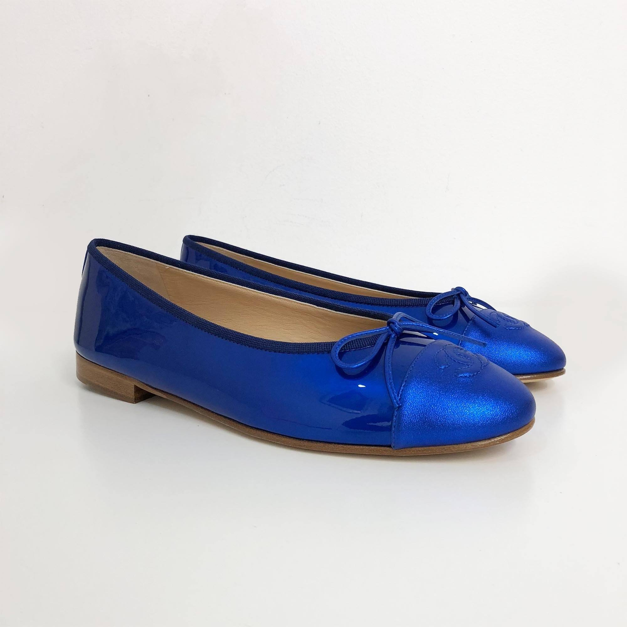 Chanel Shiny Blue Patent Leather CC Cap Toe Ballerina Flats