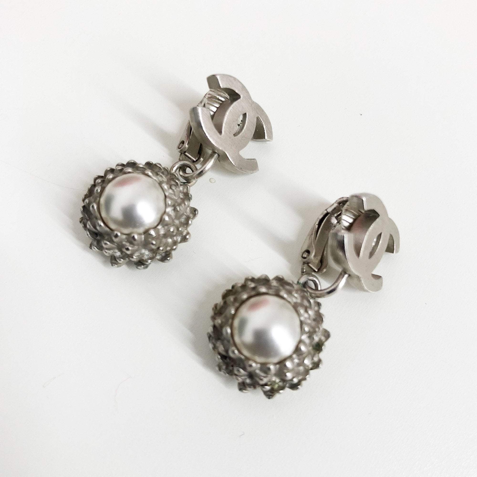Chanel Silver Matte CC Drop Earrings