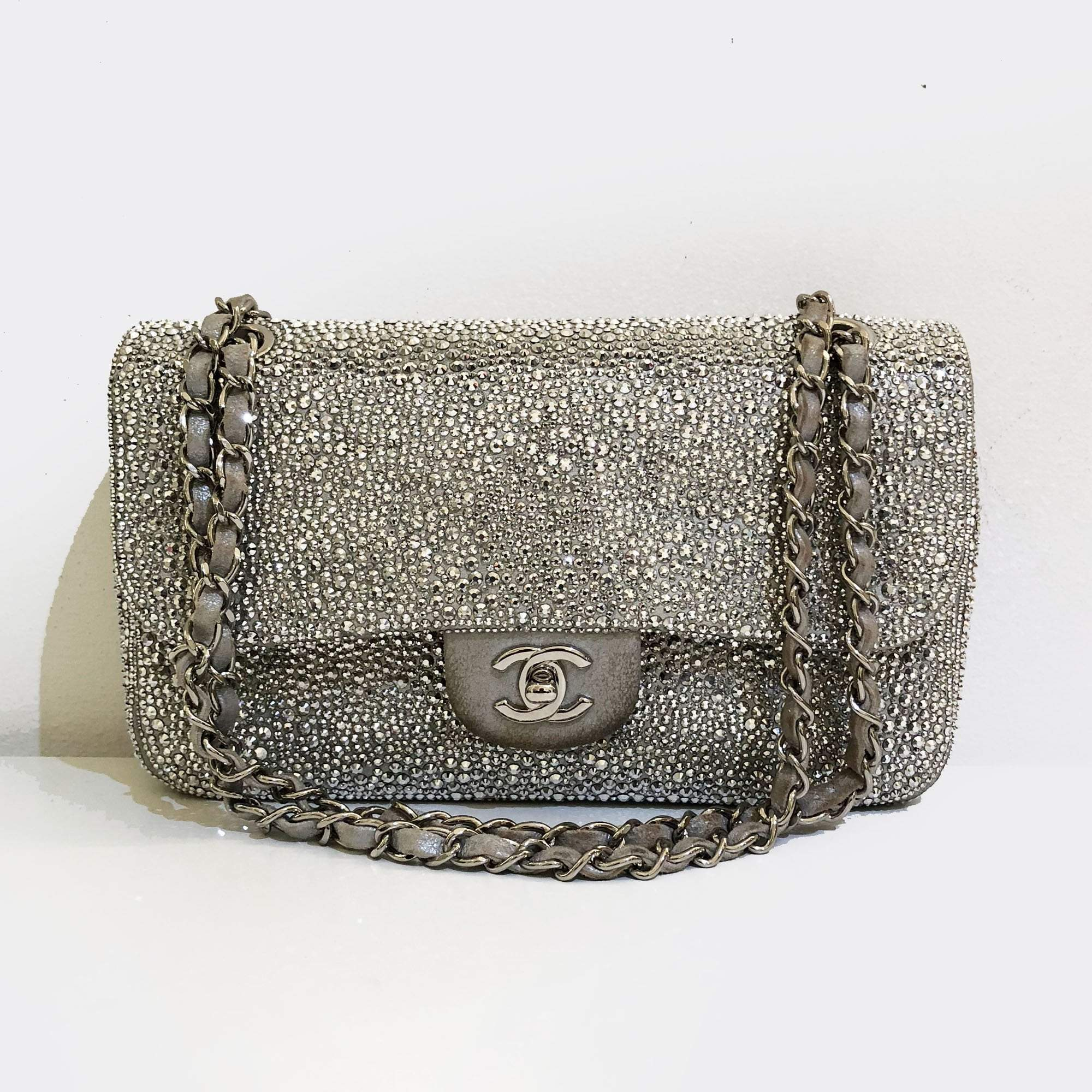 Chanel Strass Encrusted Medium Flap Silver Bag