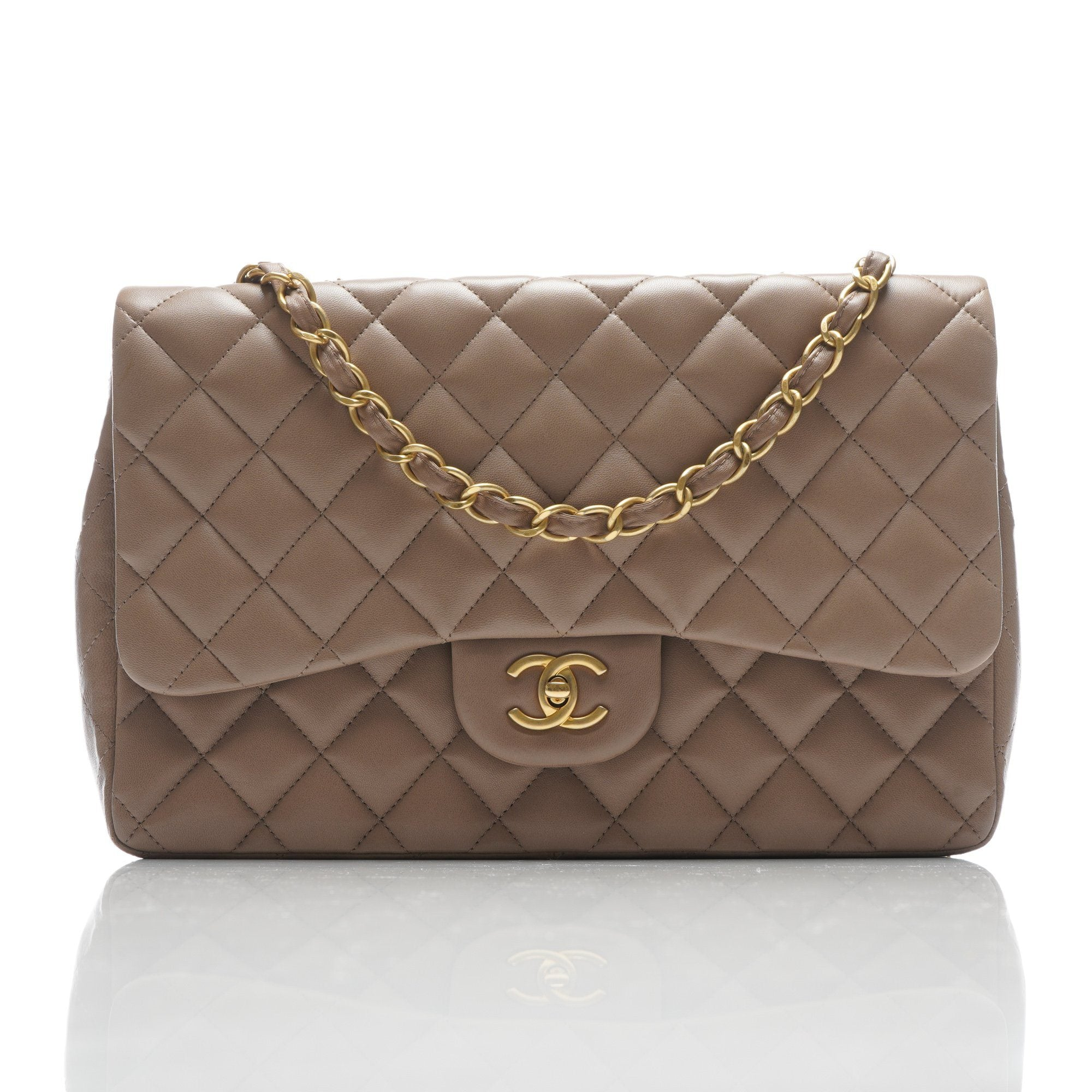 651aba35b4c8 Chanel Taupe Quilted Leather Jumbo Classic Flap Bag – Garderobe