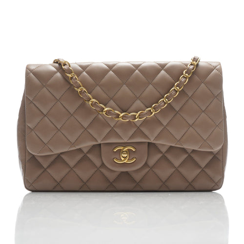 Chanel Taupe Quilted Leather Jumbo Classic Flap Bag