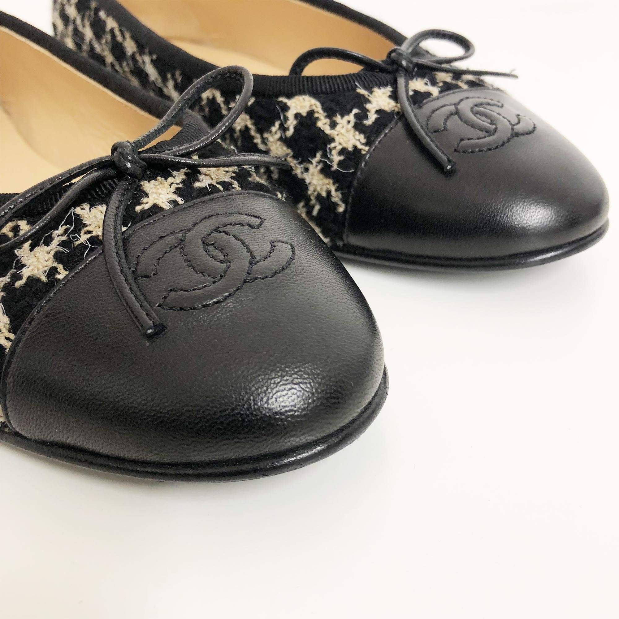 Chanel Tweed and Lambskin Ballerinas