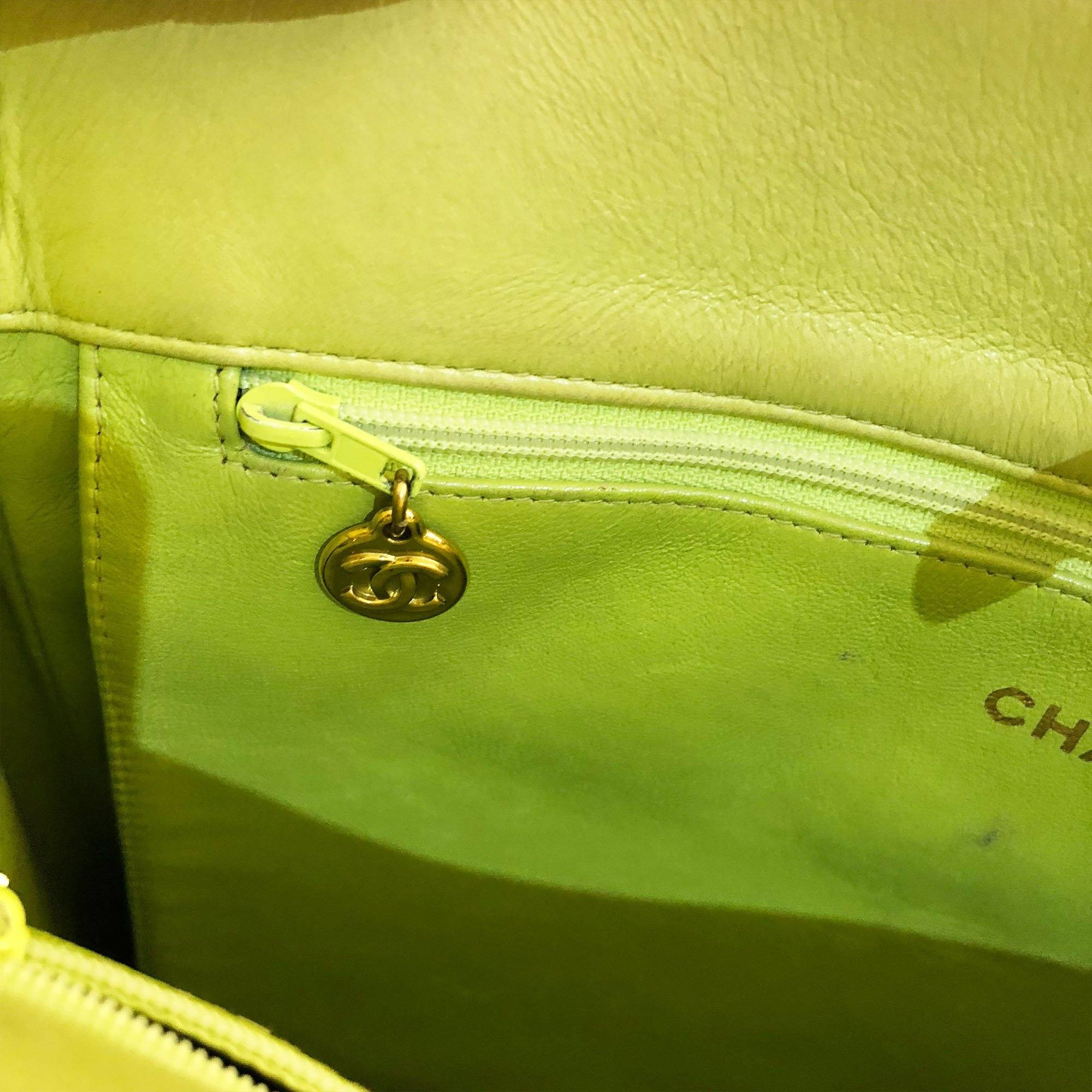 Chanel Vintage Caviar Leather Yellow/Lime Green Tote Bag