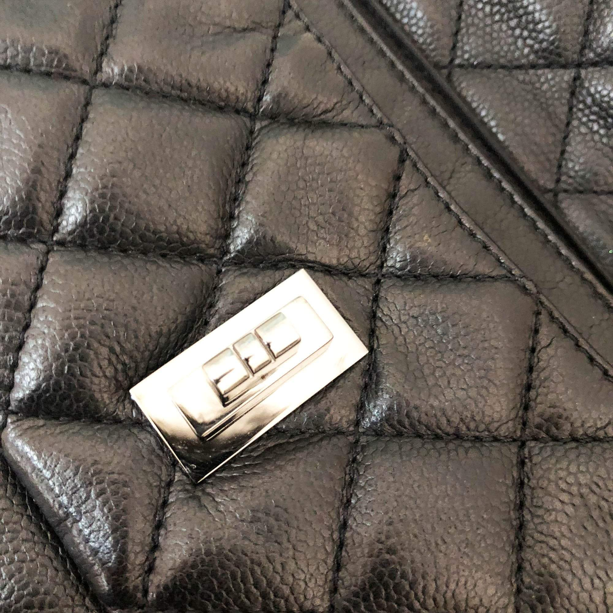Chanel Vintage Mademoiselle Lock Accordion Quilted Caviar Bag