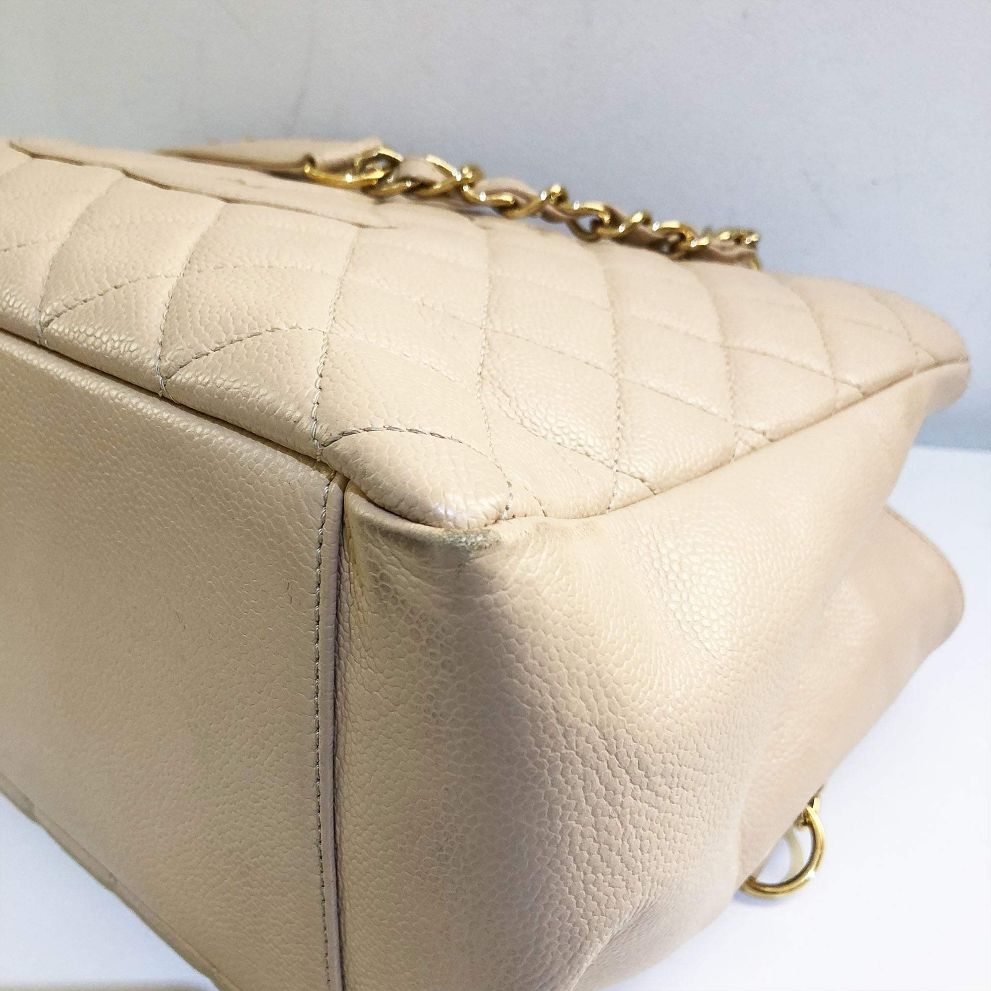 Chanel Beige Caviar Classic Grand Shopper Tote GST Bag