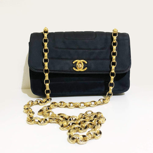 Chanel Vintage Mini Flap Satin Crossbody Bag