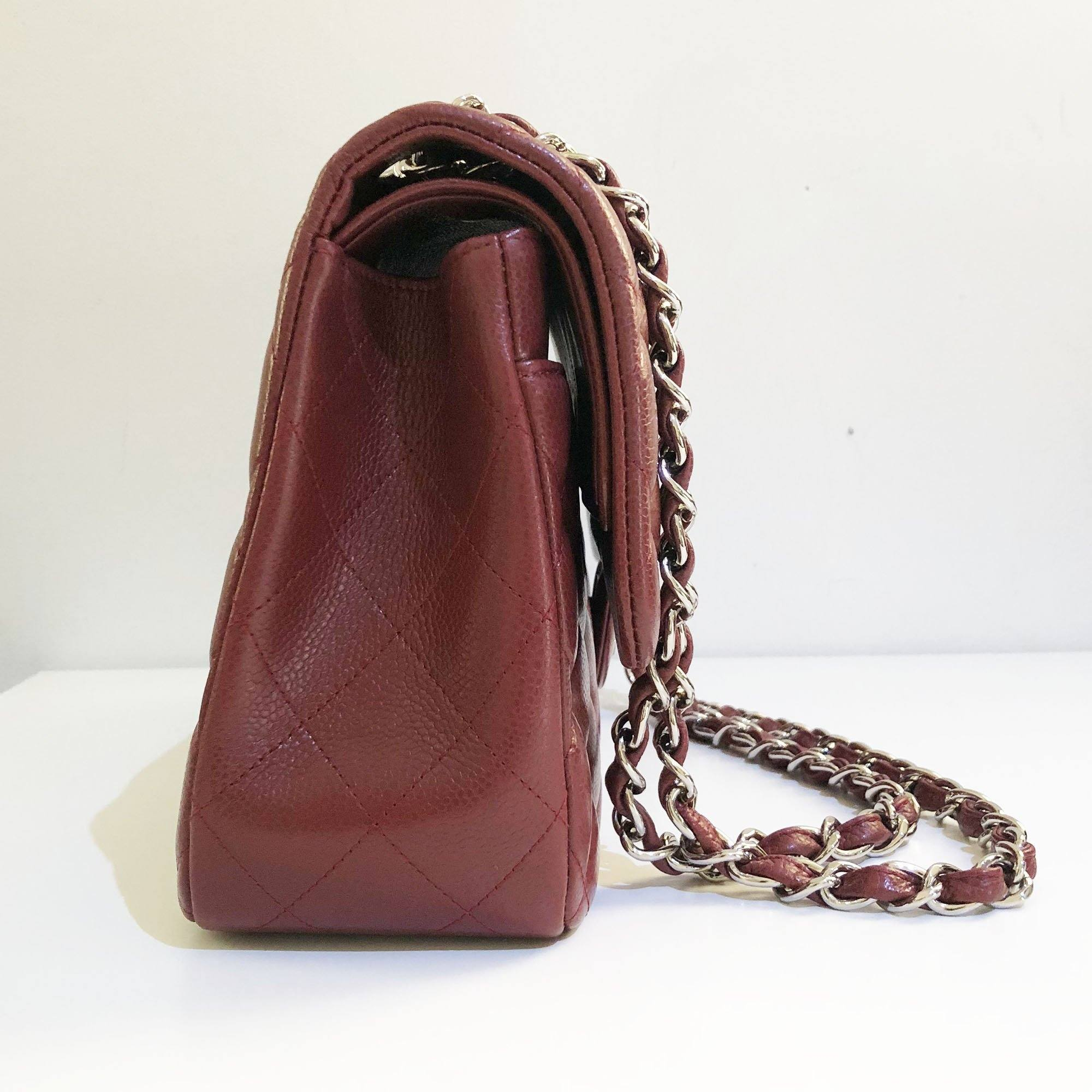 Chanel Burgundy Caviar Jumbo Double Flap Bag